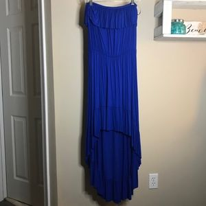 Anthropologie  Royal Blue Strapless Hi-low dress